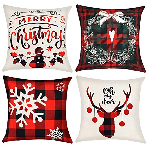 VGOODALL Christmas Pillow Covers, 4 PCS 18 Christmas...