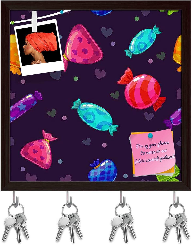 Artzfolio Candy Cartoon Key Holder Hooks   Notice Pin Board   Dark Brown Frame 20 X 20Inch