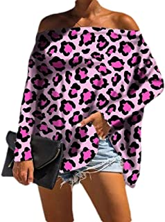 Loyomobak Womens Loose Fit Pullover Leopard Print Long Sleeve Plus Size Off The Shoulder T-shirt