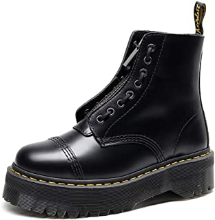 Dr. Martin unisex boots Two wearing thick-soled leather boots 8-hole front zip boots black lace-up boots Unisex Adults' Boots Comfortable Non-slip Wear-resistant (Color : Black, Size : 39)