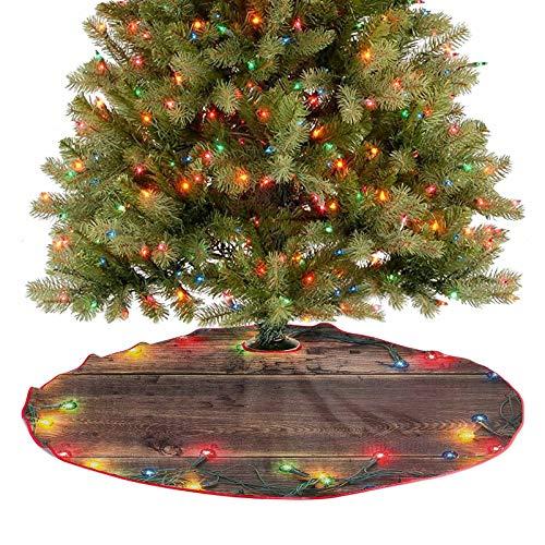 Alfombra para árbol de Navidad, temática rústica para casa, tablones de madera con bordes de diseño natural, decoración para fiestas, supersuave y atractiva para los ojos, multicolor, 91,4 cm