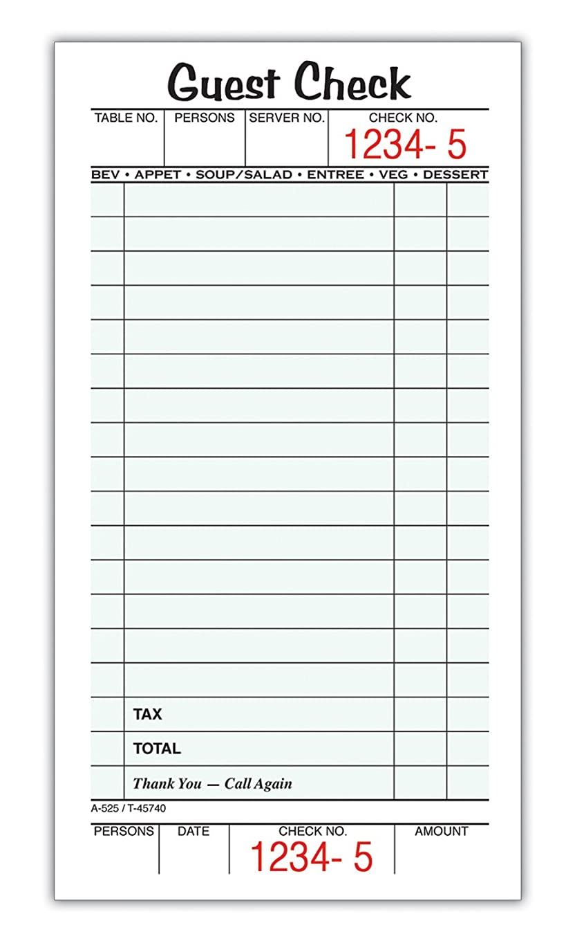 Adams Guest Check Pads, Single Part, Perforated, White, 3-2/5