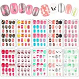 240 Pieces Children False Nails Kids Girls Press on Short Artificial Fake Nails Cute Pre Glue Full Cover Acrylic Nail Tip Kit for Children Little Girls Nail Art Decoration, 10 Boxes (Colorful Bows)