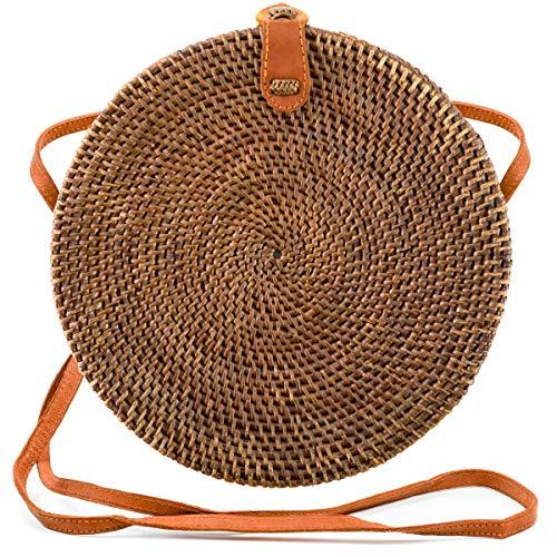 Atabag Made in Bali Bag Rattan Tasche Rund Rundtasche Korbtasche Strohtasche Strandtasche Natur Braun, Large