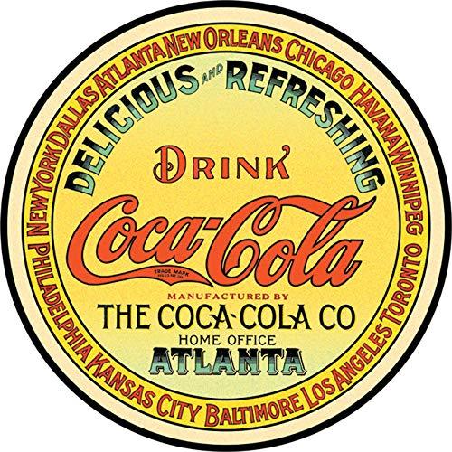 Letrero de lata 'Coca-Cola - etiqueta redonda del barril