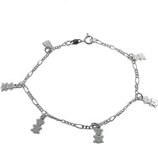 Loox Garnet Bracelet Femme en Argent Fin 925/1000 Blanc, Cm 18, 8.2 Grammes
