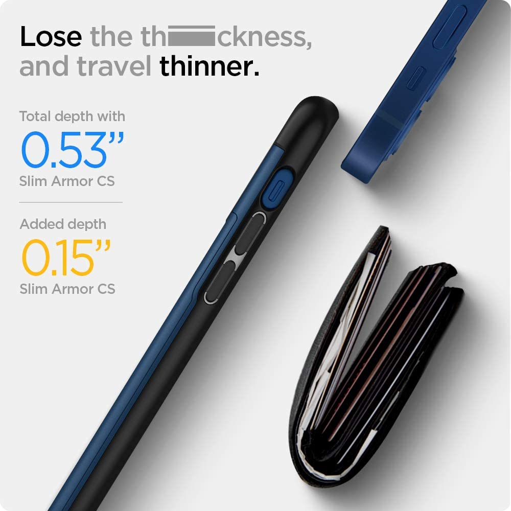 Azul Marino Spigen Funda Slim Armor CS Compatible con iPhone 12 Mini