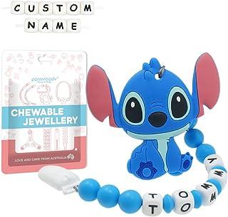 Attache Sucette Nom Personnalisé Prenom Silicone Stitch Clips factices Anneau de Dentition pour Garçons et Filles Bébé (Bleu)