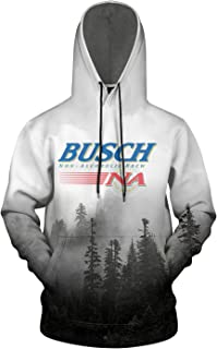 FUEWJFDIW 3D Printed Galaxy Fleece Hooded Sweatshirt for Mens Busch-Brewery-Lights-Beer- Pullover Hoodie