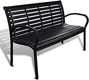"Festnight 3-Seater Outdoor Patio Garden Bench Porch Chair Seat with Steel Frame Solid Construction 49"" x 24"" x 32"""