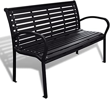 """Festnight 3-Seater Outdoor Patio Garden Bench Porch Chair Seat with Steel Frame Solid Construction 49"""" x 24"""" x 32"""""""