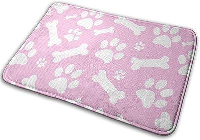 "Pink White Dog Paw Prints Bones Floor Rug Indoor/Front Door Mats Home Decor Rubber Non Slip Backing 23.6""(W) X 15.8""(L)"