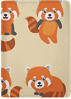 Cute Red Panda Animal Cartoon Doodle Blocking Print Passport Holder Cover Case Travel Luggage Passport Wallet Card Holder Made with Leather for Men Women Kids Family