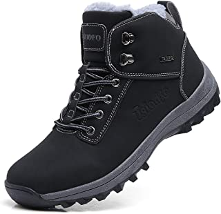 Men's Boots Winter Waterproof Leather Outdoor Hiking Shoes Black Brown