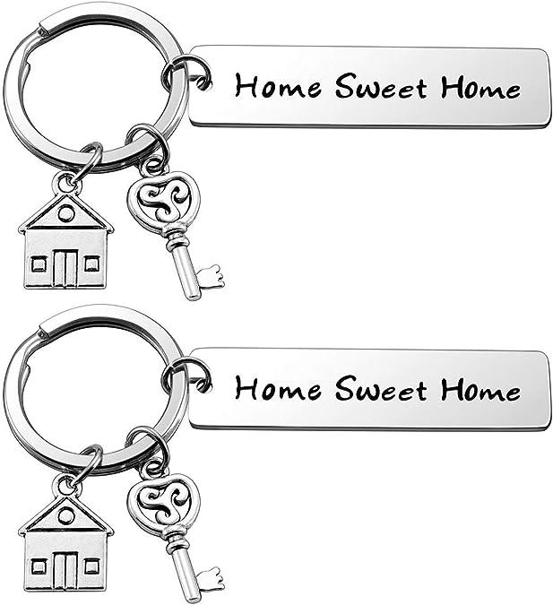 Coppia di portachiavi con incisione Home Sweet Home in acciaio inox amore per casa Zysta chiavi per coppie famiglia come regalo di inaugurazione della casa