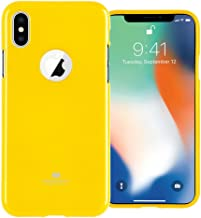 GOOSPERY Pearl Jelly for Apple iPhone Xs Case iPhone X Case with Screen Protector Slim Thin Rubber Case (Yellow) IPX-JEL/SP-YEL