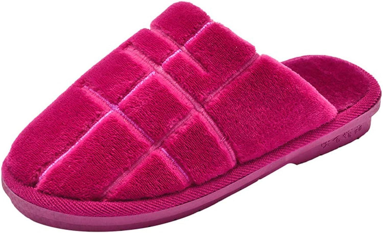 WGFGXQ Men and Women Plush Cotton Slippers, Autumn and Winter Home Non-Slip Warm Slippers