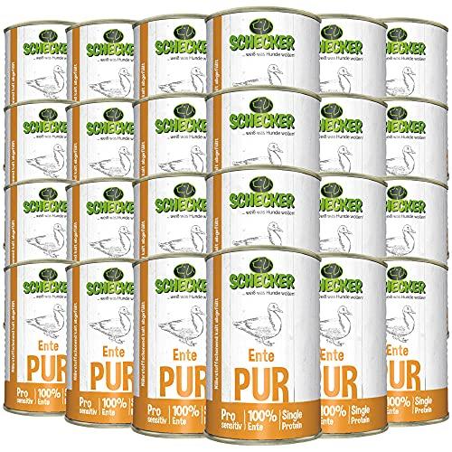 Schecker Dogreform Ente PUR 24 Dosen x 410g Nassfutter - auch für empfindliche Hunde - getreidefrei - glutenfrei - geeignet zum BARFen