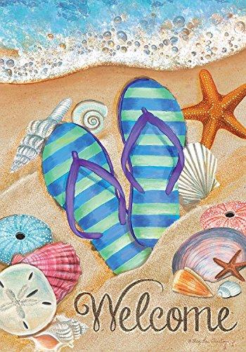 Briarwood Lane Day in The Sun Beach Garden Flag Summer Flip Flops Shoreline 12.5' x 18'