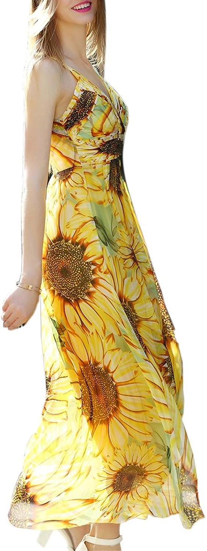 CDCLOTH Women's Bohemia Large Hem Silk Dress Mulberry Silk Beach Strap Long Dress