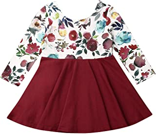 Toddler Baby Girl Thanksgiving Dress Outfit Long Sleeve Pumpkin Winter Fall Dresses Clothes