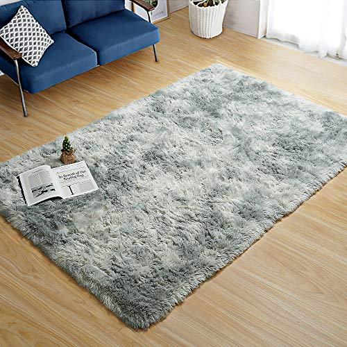 ラグ 洗える カーペット ラグマット 可愛い絨毯 130x185cm(約1.5畳) グレー 滑り止め付 防臭 防ダニ 1年中使える 床暖房 ホットカーペット対応 北欧風 消音 センターラグ ふわふわ