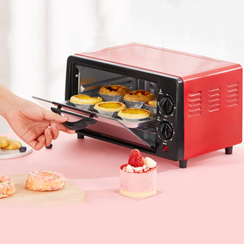 SAIK Mini Four avec minuterie de Plateau de Cuisson, Petit Grille-Pain Four Grille-Pain de comptoir pour la Cuisson, Griller, décongeler Rouge