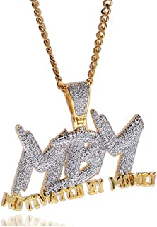 Hip Hop DJ Plated 18K Gold Ice Out Crystal Letter Tag Pendant Stainless Steel Chain Necklace