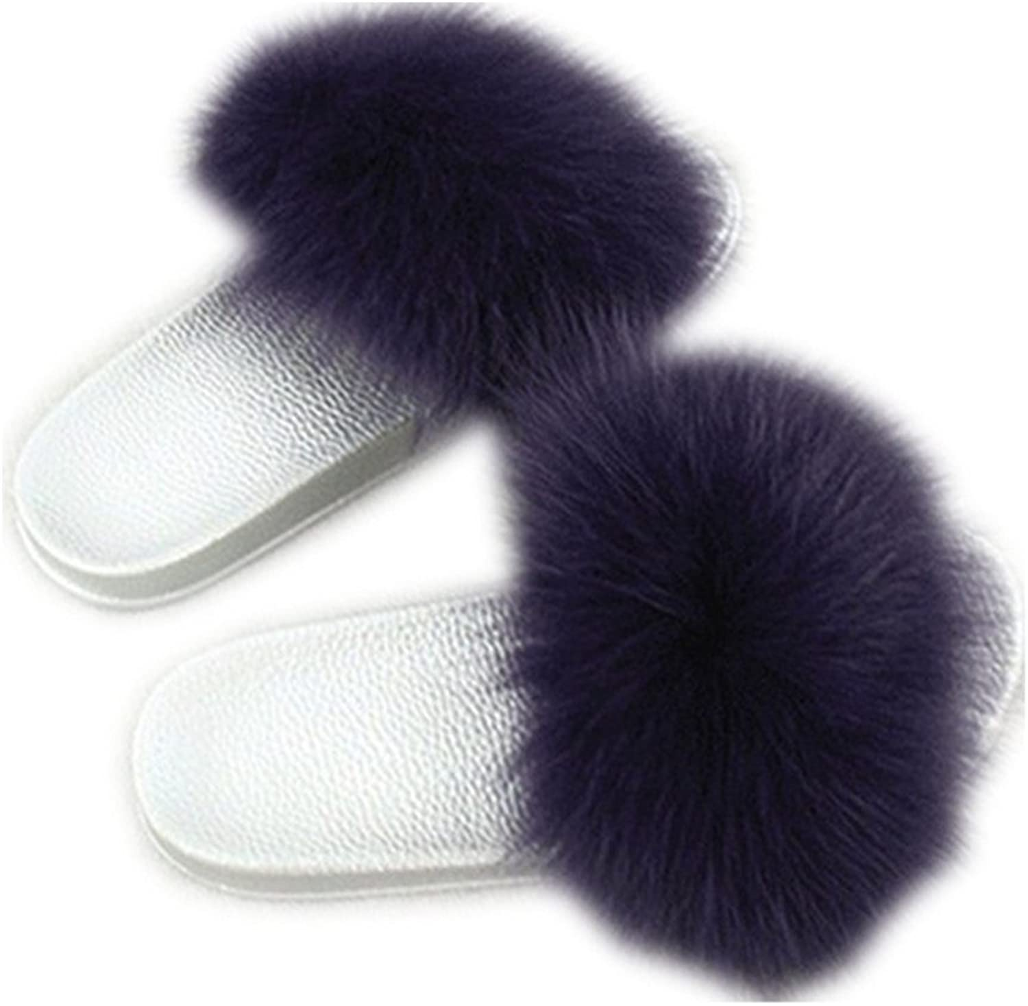 QMFUR Women Real Fox Fur Slippers Fashion Slides Flat Silver Soft Summer shoes for Girls (12, Dark Purple)