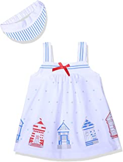 Lumex House Print Front Bow Dress with Striped Hat For Girls - White, 3-6 Months