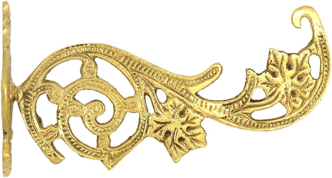 High Polished Brass Ornate Wall Mount Bracket Hook for Church Oil Candles or Home Use, 5 1/3 Inch