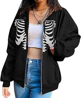 Chollius Women Casual Hoodie Sweatshirt Jacket Long Sleeve Zip Up Skull and Skeleton Print Zipper Oversize Loose Fit Cardi...