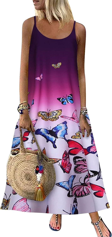 Kaitobe Bohemian Dress for Women Casual Print O Neck Sleeveless Summer Dresses Loose Long Maxi Dress Beach Sundress