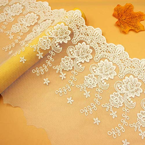 Tela de encaje floral para vestido de novia o boda, para manualidades, festoneado, 15 cm de ancho, ALE15 cm de ancho, color marfil claro