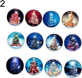 CHoppyWAVE Loose Beads 12Pcs Christmas Tree Santa Claus Decor DIY Sewing Craft Tool Enamel Glass Button - 2#