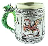 Tazza drago - 3d - Dragone cinese - Resina - Acciaio inox - Horror - Boccale birra - Idea regalo originale - Gotico - Caffe - Bevande - Vichinga - Maschio - Halloween - Medievale - Ottima qualita