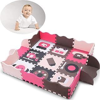 子ども プレイマット お環境保護赤ちゃんパズルフェンスゲームパッド厚い泡ステッチングフロアマット。