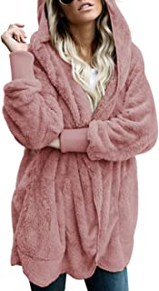 Womens Long Sleeve Solid Fuzzy Fleece Open Front Hooded Cardigans Jacket Coats Outwear with Pocket