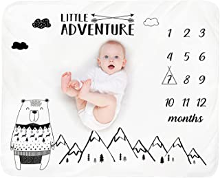Baby Monthly Milestone Blanket Boy - Bear Mountain Newborn Month Blanket Unisex Neutral Personalized Shower Gifts Baby Stu...