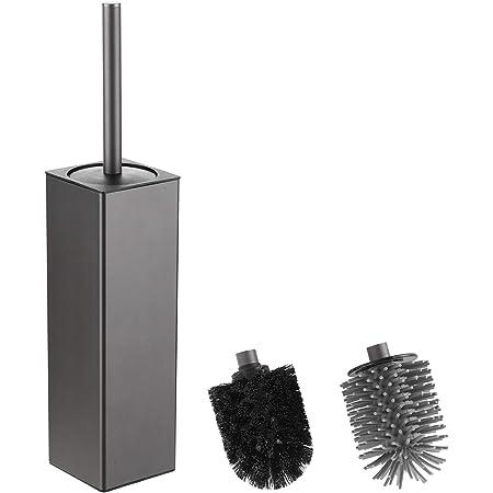 bgl Brosse WC et support, support de brosse carré TPR et PP 2 têtes de brosse, brosse WC en aluminium pour le nettoyage de la salle de bain, brosses de toilette (gris)