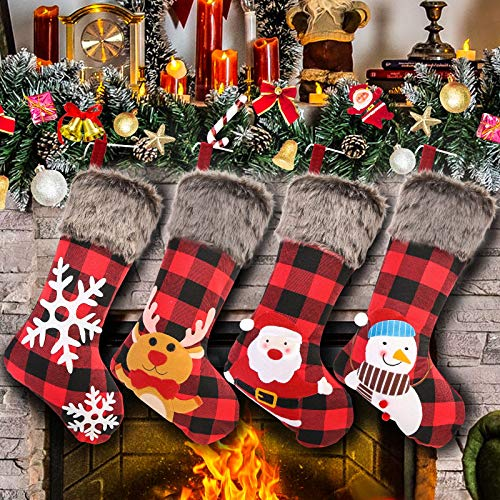 Christmas Stockings Set of 4, 18' Large Xmas Stockings, Burlap Plaid Style with Snowflake Santa Snowman Reindeer and Plush Faux Fur Cuff Family Hanging Socks for Xmas Gift Holiday Season Party Decor