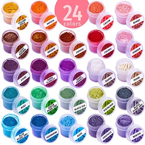 Mica Powder Coloring Pigments 24 Jars Mica Powder Set Lip Gloss Pigment Resin Dying Pigment product image