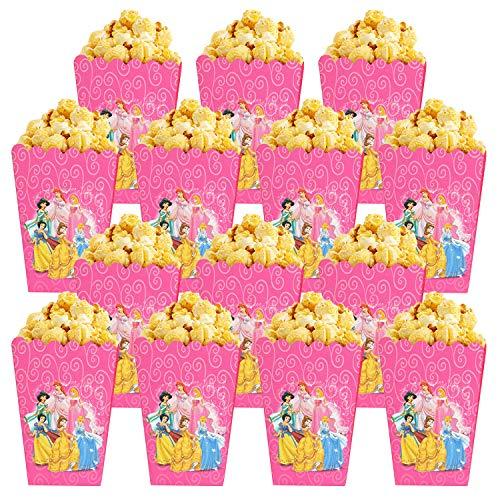 Qemsele Bolsas de Palomitas de maíz, 30 Cajas de Palomitas de maíz contenedores de Palomitas de maíz para Fiestas de cumpleaños, Noches de Cine, Carnaval, Teatro y Regalos de Fiesta (Princess)