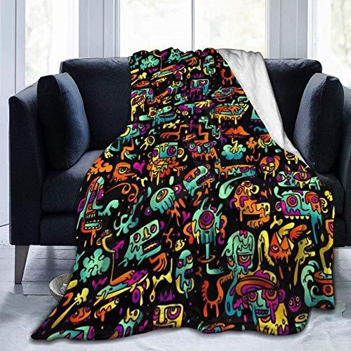 Psychedelic Trippy Dj Art - Mantas de forro polar negro – 156 x 200 cm, lujosa manta de sofá de felpa suave, mantas y mantas reversibles de TV, fácil cuidado, otoño invierno y primavera uso