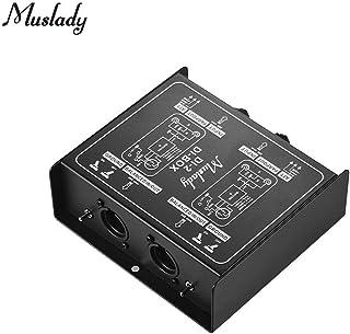 Muslady Dual-Channel Pasivo DI-Box Caja de Audio de Inyección Directa Convertidor de Señal Balanceado y Desequilibrado con XLR TRS Interfaces para Bajo de Guitarra Eléctrica Actuación en Vivo