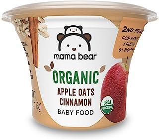 Amazon Brand - Mama Bear Organic Baby Food, Apple Oats Cinnamon, 4 Ounce Tub, Pack of 12