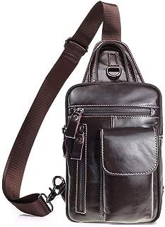 Tippnox Men's Leather Sling Bag Multipurpose Crossbody Shoulder Chest Daypack Backpacks Outdoor Travel Packs (Coffee)