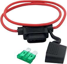 ZOOKOTO Inline Fuse Holder, 16 AWG Gauge Copper Wire Car Auto Blade Fuse Waterproof with 30 AMP Fuse