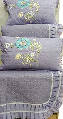PRIDHI Cotton Bed Cover Floral Design 400 TC Quilted Sheet with Two Pillow Cover (Size: King, 90*108 inches) (Purple)