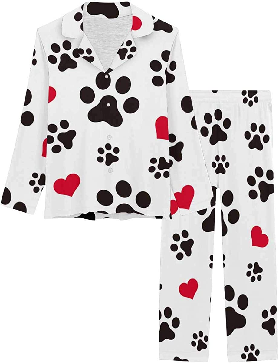 InterestPrint Women's Pajamas Set Long Sleeve with Long Pants XS-XXL Cat Paw Heart Love Puppy Foot Print